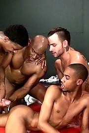 Ebony lads obscenely gangbanging in a room-filled of gay satisfaction